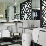 black and white marble tile bathroom