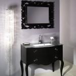 black bathroom vanity with sink
