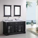 black vanity in bathroom