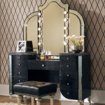 black vanity table with mirror