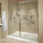 clear glass frameless sliding shower door