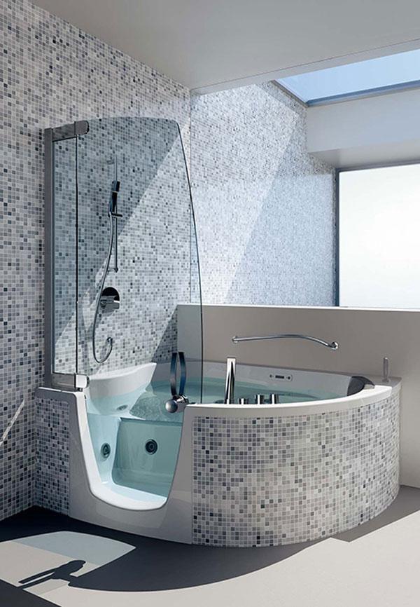 corner bathtub shower - Corner Shower Stalls as Space-Saving ...
