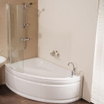 small corner bathtub with shower