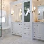 white marble bathroom floor tile