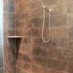 wood porcelain tile bathroom
