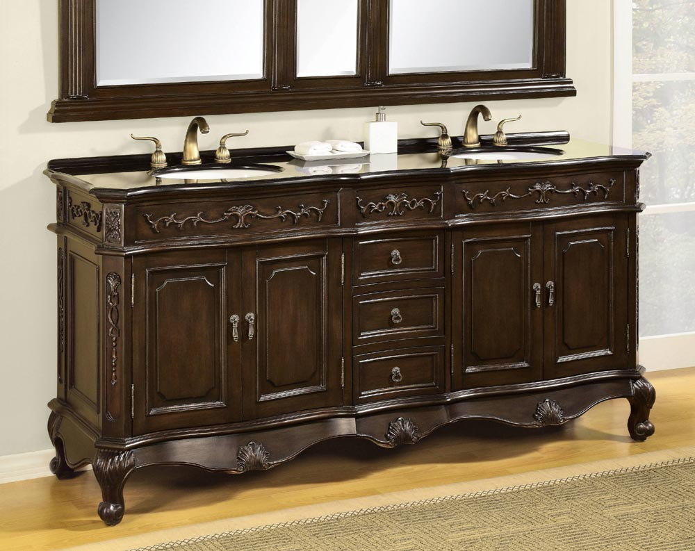 antique double sink bathroom vanity