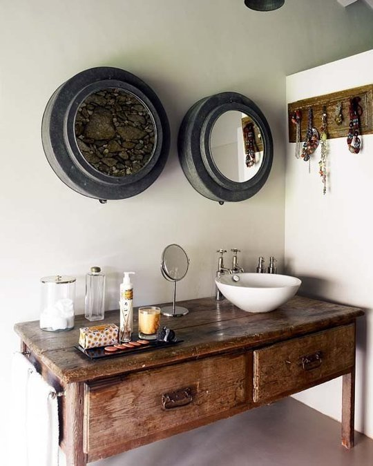 antique vanity units for bathroom - Antique Bathroom Vanity With Vessel Sink - Bathroom Vintage Style