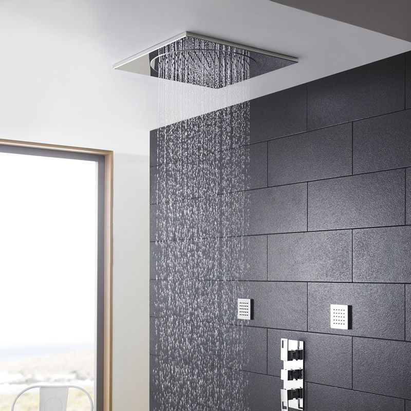 brushed nickel rain shower head - How to Add Rainfall Effect to Your ...
