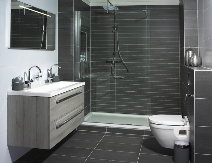 Dark grey tile bathroom top 3 grey bathroom tile ideas for Bathroom grey tiles ideas