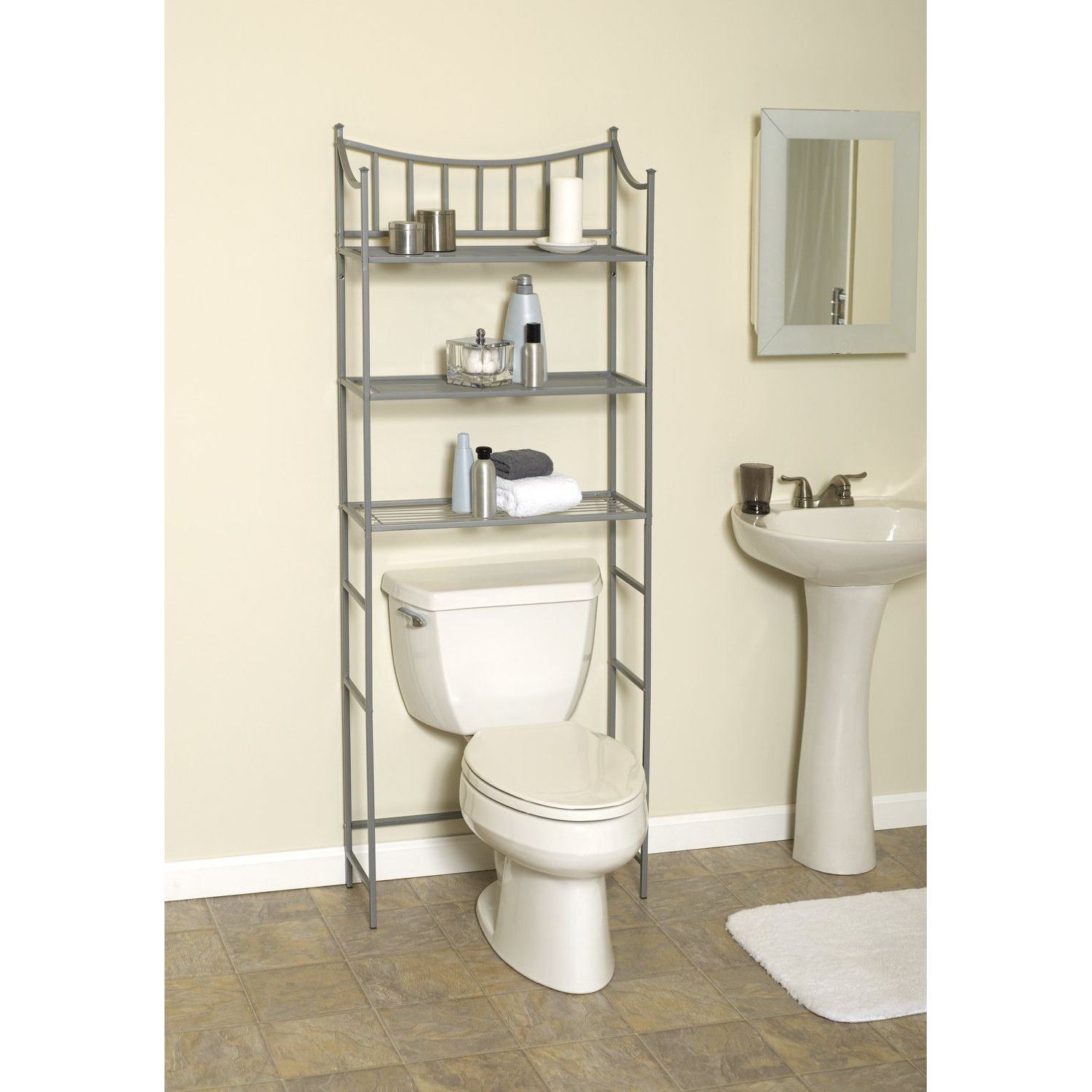 Shelves Over The Toilet As The Additional Storage For