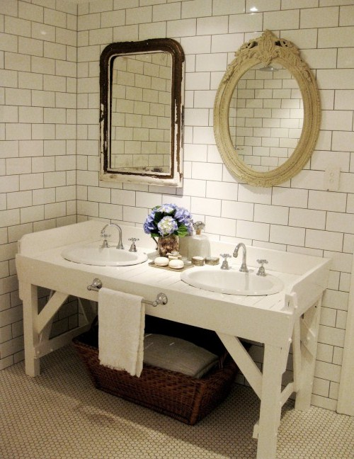 Bathroom Vanities Vintage Style antique bathroom vanity with vessel sink - bathroom vintage style