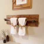 hanging towel rack in bathroom