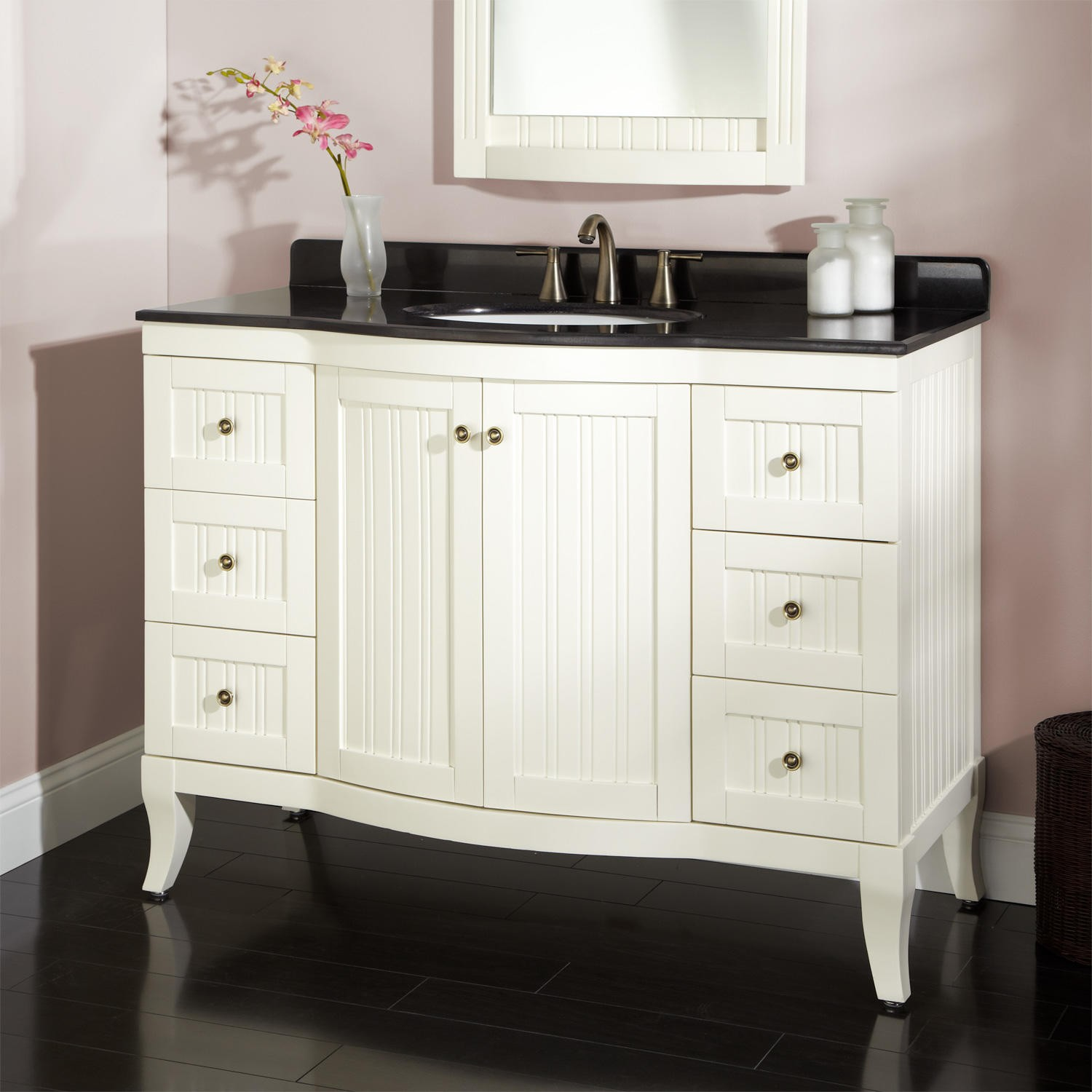 White Bathroom Vanity Ideas For Your Inspiration With Black Top