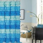 french blue ruffle shower curtain