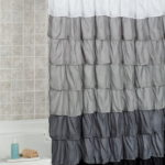 ruffle shower curtain charcoal