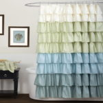 white cream blue ruffle shower curtains