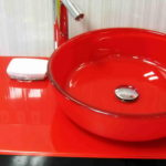 Bathroom Countertop with Red Glass Sink