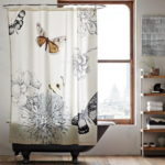 Beautiful Bathroom Decorating Ideas with Butterfly Curtains