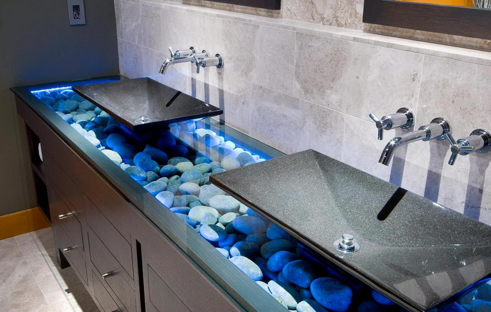 Glass Bathroom Countertop Design Creative Ideas