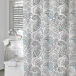Gray and White Minimalist Shower Curtain