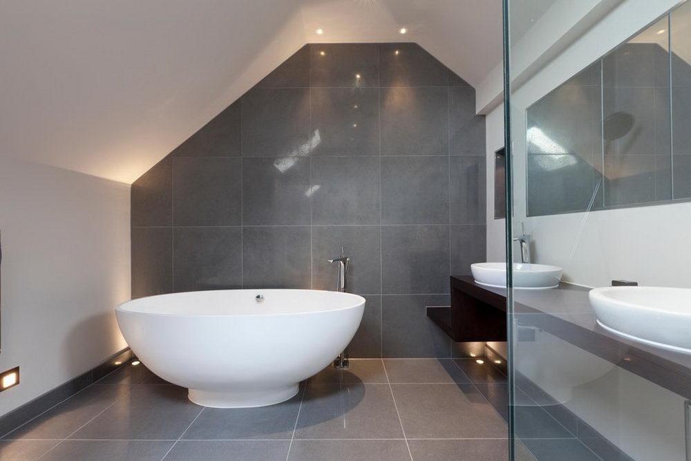 Grey Bathroom Herringbone Mosaic Backsplash