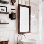 Hanging Wood Mirror Ideas for bathroom