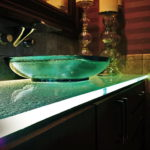 Lighting for a Glass Bathroom Vanity Countertop