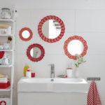 wall Mirrors Red Doilies Frames