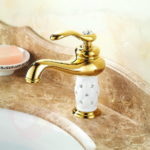 Antique Brass One Hole Single Handle Bathroom Sink Faucet