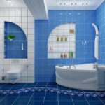 Bathroom Glass Tiles Blue and White