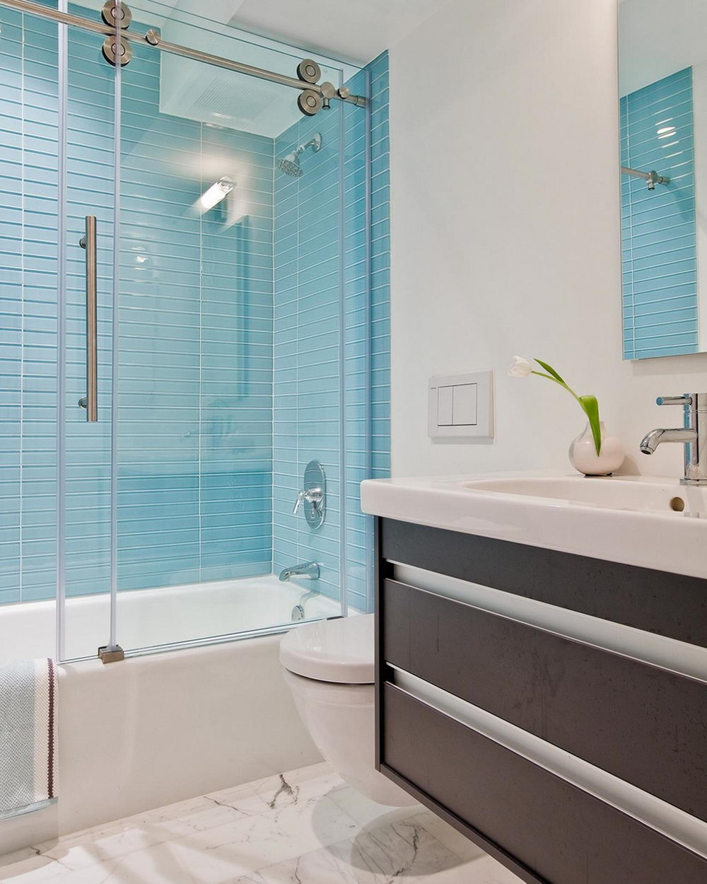 Blue Glass Tiles for Bath - Glass Tile Bathroom – The Show of Style ...