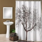 Brown Tree White Background Shower Curtain