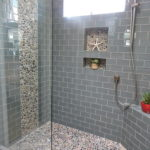 Contemporary Full Bathroom with Glass Tile