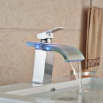 LED Light Color Hange Glass Waterfall Basin Faucet