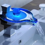 LED Waterfall Bathroom Sink Faucet Chrome Brass