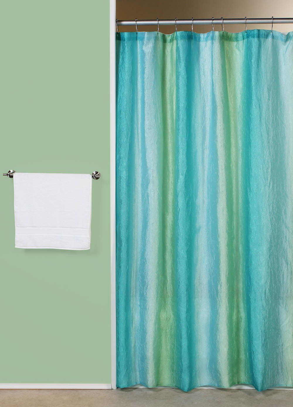 Ombre Blue Green Fabric Shower Curtain
