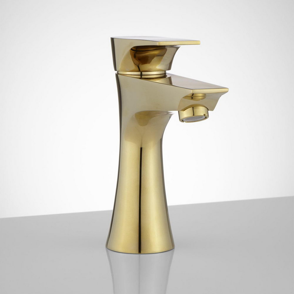 Polished Brass Single Hole Bathroom Faucet