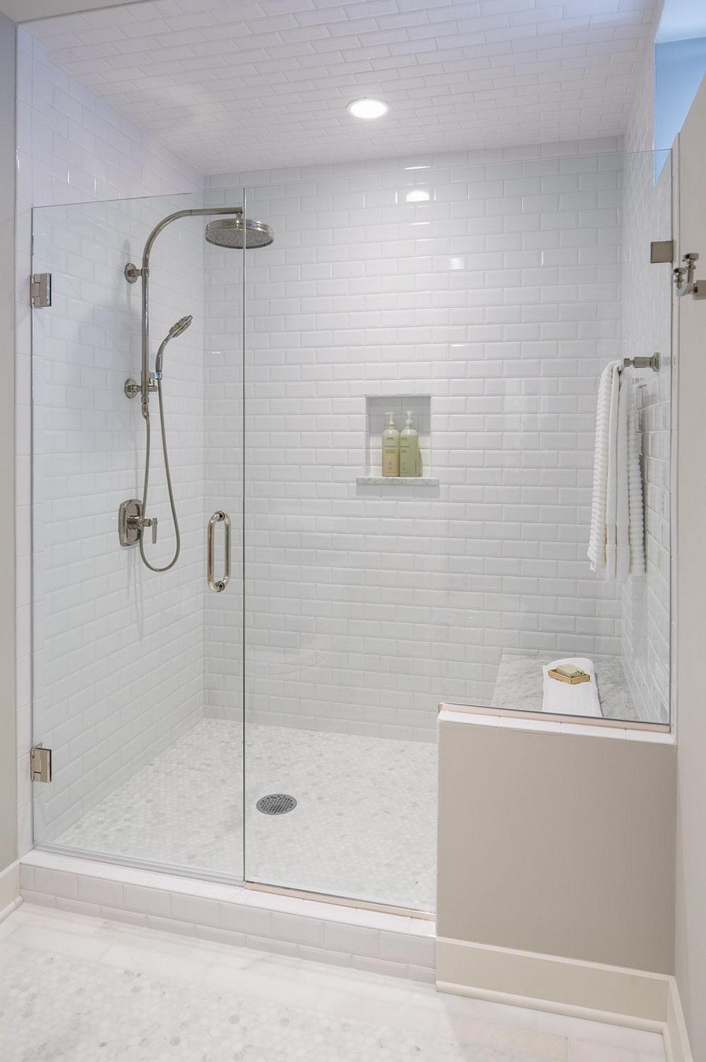 White Subway Tile Bathroom Gl