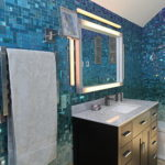 Blue Bathroom with Mosaic Glass Tile