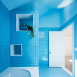 Bright Blue Tiles on the Walls and Floor