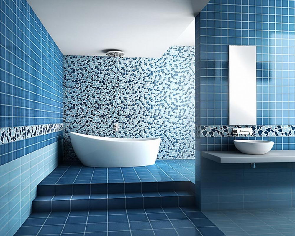 Minimalist Bathroom Color Schemes Blue
