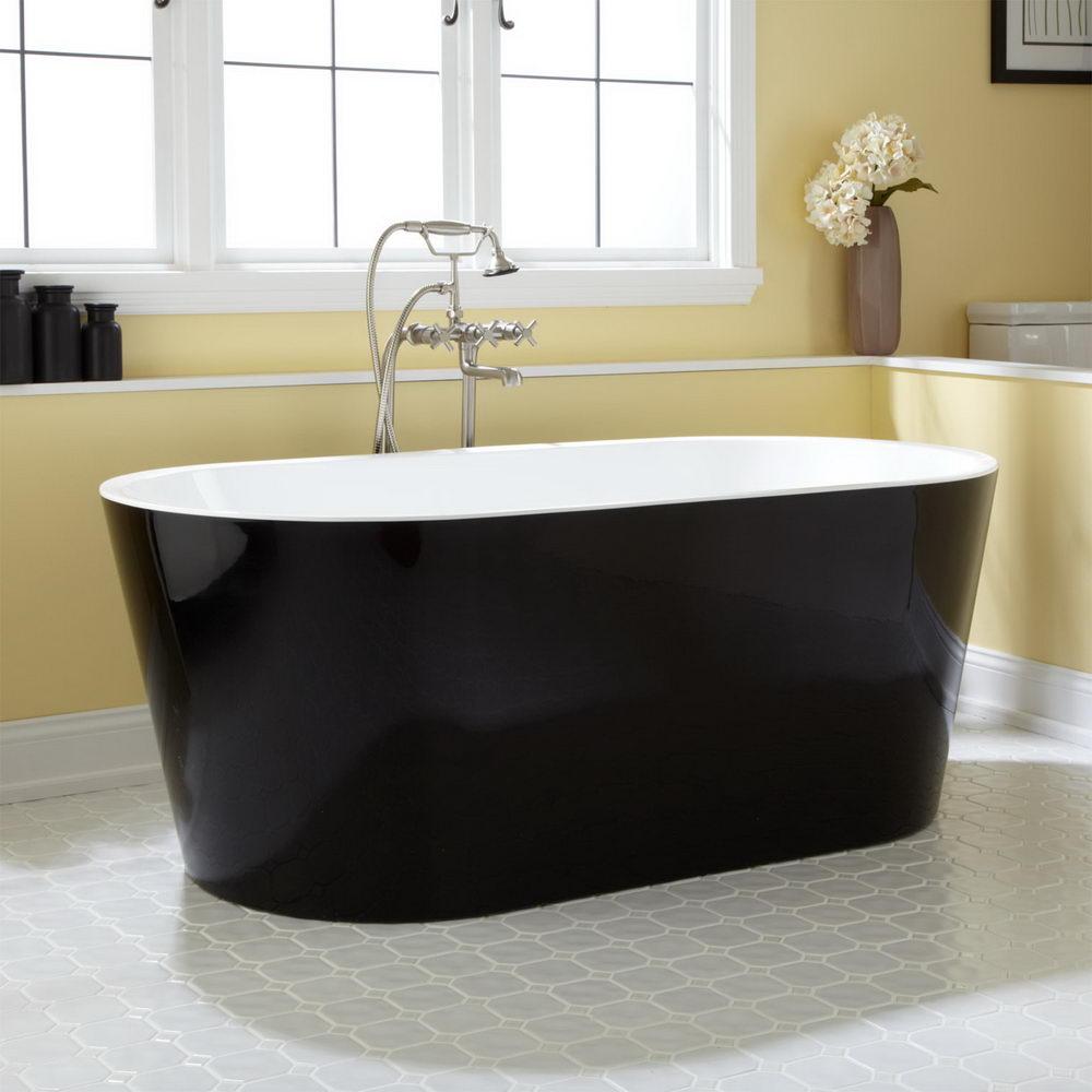 Black Freestanding Acrylic Tub - Relaxing Bathing in Oversized ...