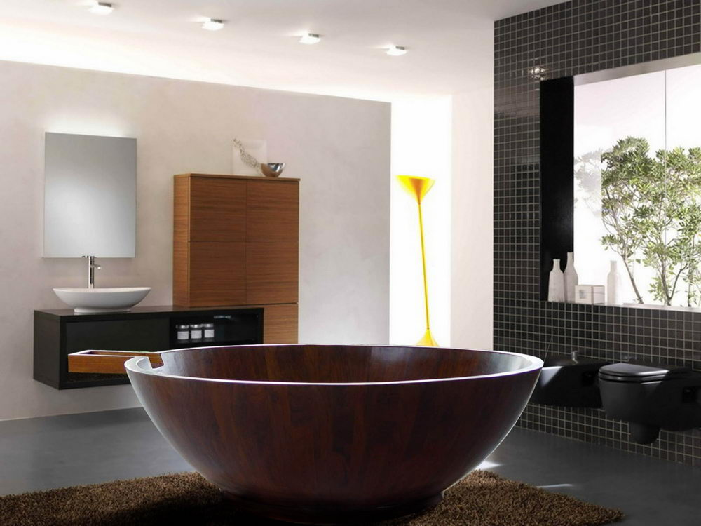 Contemporary Freestanding Round Wooden Bathtub
