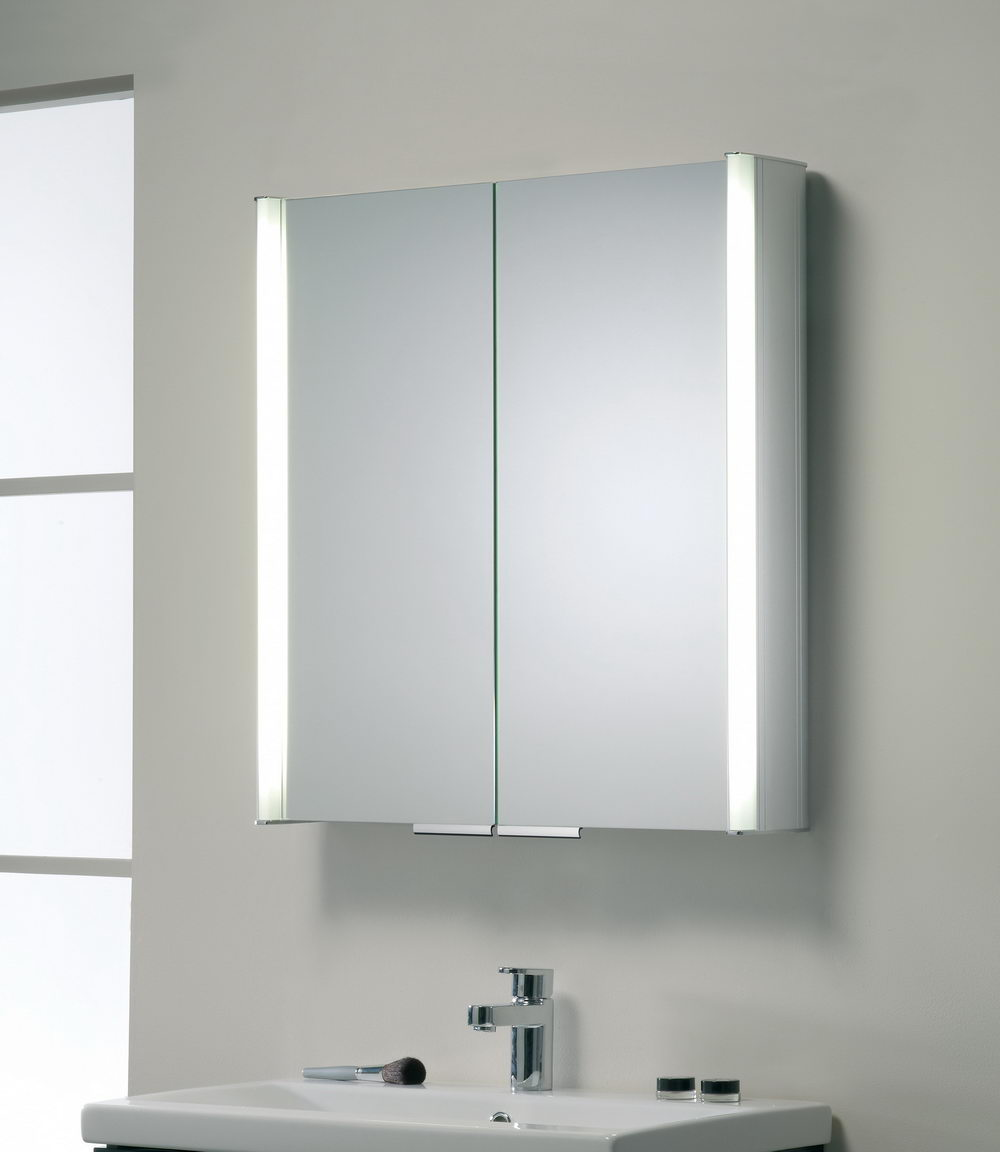 Mirrored Cabinet White Transparant Fronted Slimline