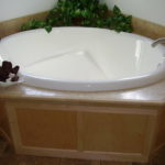 Soaker Tub with Ceramic Edge Back Splash
