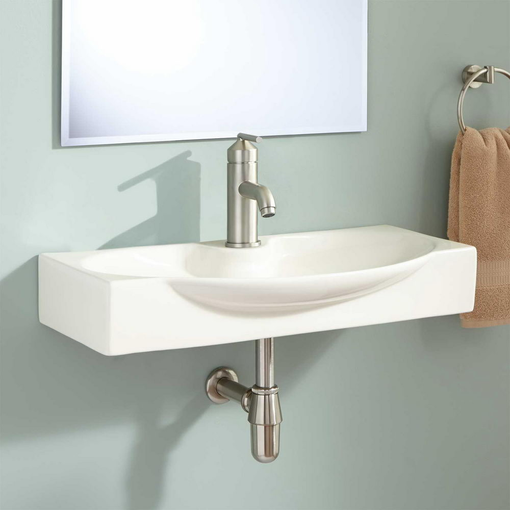 wall mount biscuit bathroom sink faucet - choosing right variety of sinks for small bathroom
