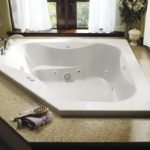 White Acrylic Rectangular Whirlpool Tub