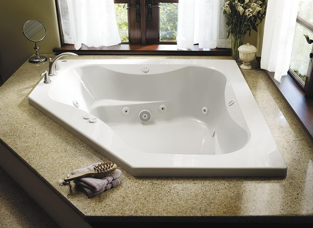 White Acrylic Rectangular Whirlpool Tub - Different Types Of Top ...