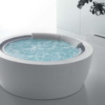 White Beadboard Round Infinity Bathtub Stainless Steel Tap