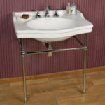 Porcelain Console Sink with Brass Stand